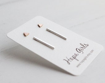 Pink Gold Filled triangle studs and Sterling silver bar set, Stud earrings, Minimalist earrings, Dainty earrings, gifts for her, gift giving