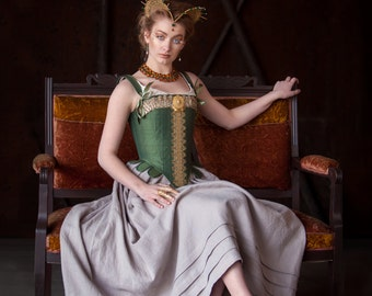 SAMPLE Green Tudor Corset with Gold Trim, 16th Century Silk Stays with one of a kind bullion trim for period costume and historical fashion