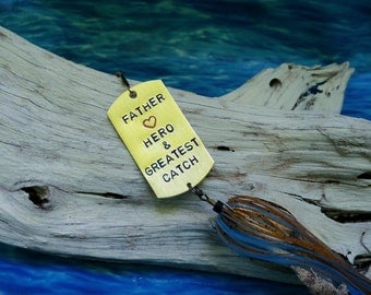 Personalized Mens Gift for Father Birthday Gift for Dad Fishing Lure Gift for Husband Hand Stamped Keepsake Gift Father Mens Gift for Him