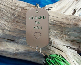Personalized Fathers Day Gift for Husband Fishing Gift  Hooked On You Gift for Him Mens Gift for Anniversary Hand Stamped Fishing Lure Gift