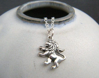 tiny sterling silver lion necklace Leo small roaring animal pendant big cat wild feline realistic charm animal love courage strength jewelry