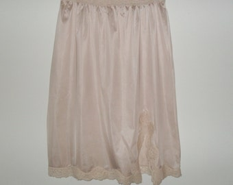 Vintage Beige 70s Lace Trimmed Slip with Side Split