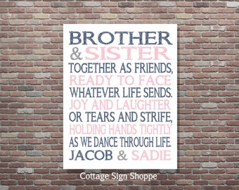 Brother and Sister Together as Friends,DIY PRINTABLE,YOU Print,Sibling Art,Personalized Brother and Sister Art,Custom Brother and Sister Art