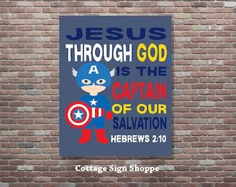 Hebrews 2:10,Christian Superhero Art, Christian SuperheroDIGITAL, YOU PRINT,Boys Superhero Decor,Christian Bible Verse,Christian Superhero
