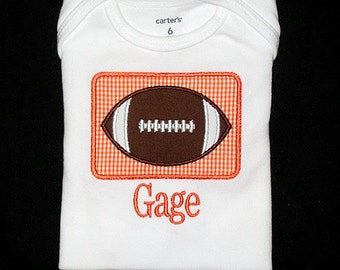 Custom Personalized Applique FOOTBALL PATCH and NAME Bodysuit or Shirt - Orange and White - Or You Choose Team Colors