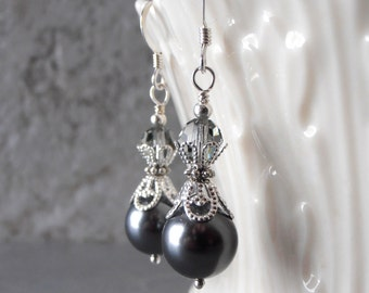 Dark Gray Pearl Bridesmaid Earrings Swarovski Crystallized Elements Charcoal Pearl Wedding Jewelry Sets Beaded Earrings Bridesmaid Gift