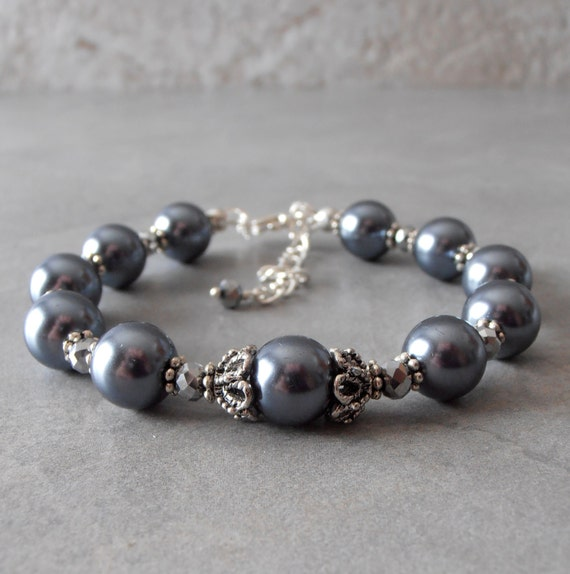 Grey Pearl Beads: Items Similar To Pewter Gray Pearl Bracelet, Dark Grey