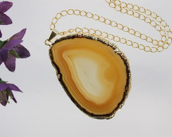 Brown Agate Pendant, Agate Necklace, Agate Slice, Boho Jewelry, Gold Plated Agate, Layered Necklace, Boho Necklace, APS97
