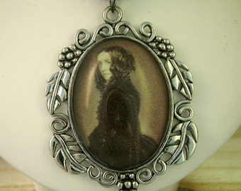 Victorian Inspired Elizabeth Barrett Browning Pendant and Necklace