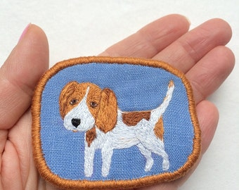 Textile Dog Portrait Brooch - Beagle puppy - Funny Dogs collection, hand embroidered textile pet jewelry