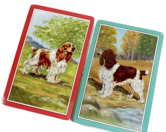Gorgeous 2 Vintage Decks DOG Playing Cards | New Unopened | SPRINGER SPANIELS | Boxed Set |  Mid Century | Swap Supply | Game Cards