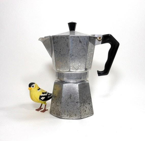 Vintage Espresso Pot Coffee Maker Junior Express Aluminum Non