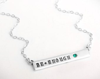 Nameplate Necklace in Silver with Birthstone, Stamped Bar Necklace with Name. Perfect Mother's Day Gift for a New Mom by Nelle and Lizzy