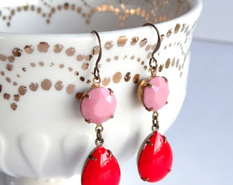 Vintage Milk Glass Earrings Valentine's Day Pink and Red Old Hollywood Retro