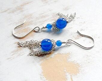 Blue Stone Earrings, Onyx Earrings, Handmade Silver Jewellery, Silver Chain Earrings, Boho Style Jewelry, Tassel Drop Earrings