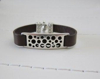 Black Flat Leather (10MM) with Silver Slide Bracelet