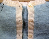 Vintage Infant/Toddler Blue Hand-Knit Wool Sweater - 1940-1950s Adorable Sweetness-Great Condition