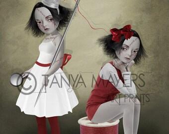 A3 Art print - Goth Girl Art - Big Eyes Art - Large Print - Sewing Old Wounds
