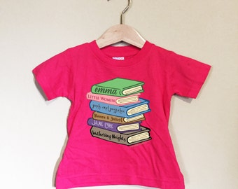 Baby Toddler Romance Classics book stack t shirt or bodysuit made to order baby sizes NBm to 24M white gray lavender