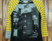 Obey The Billboard UPCYCLED Raglan Sleeve Ladies T-Shirt size small