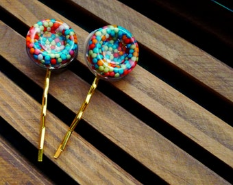 candy sprinkles colorful hair pins, hair accessories