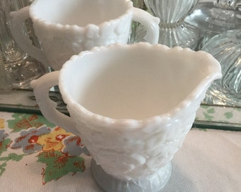 Wistful White Milk Glass Westmoreland Glass Maple Leaf Pattern Creamer and Sugar