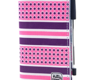 2017 Diary - Pink and purple spots and stripes vintage fabric