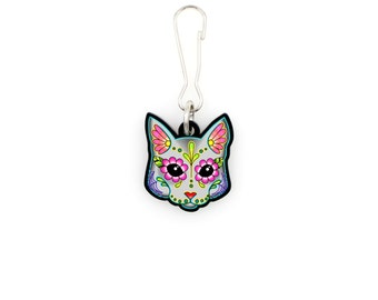 SALE Regularly 7.95 - Cat in Grey - Collar Charm / Key Chain / Zipper Pull - Day of the Dead Sugar Skull Kitty