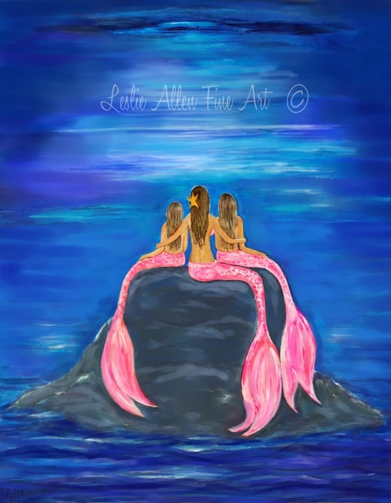 Mermaid Art Print Mermaids Three Mermaids Mermaid Painting