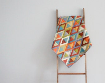 Custom Baby Boy or Girl Quilt, Baby Blanket, Crib Quilt, Stroller Blanket - Sashed Triangles