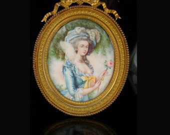 Signed Antique Portrait 18th century Marie Antoinette Painting Miniature Framed  Hand Painted