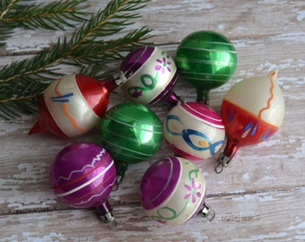 8 Vintage Miniature Poland Feather Tree Christmas Ornaments Hand Painted