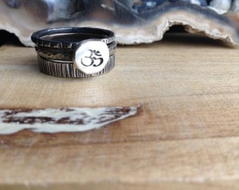 Natural Faceted Sterling Silver Stacked Ring Set Ohm Aum