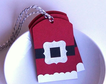 Santa Belt Christmas Tags or Package Labels (Qty. 6)