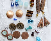 Instant earring kit - blue and copper - lampwork glass - vintage metal - artisan beads - destash jewelry supply