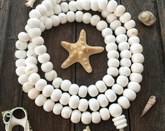 From the Sea: Bright White Natural Nepali Conch Shell Beads, 18x14mm, Necklace with 108 beads, Himalayans, Nepal, Yoga Jewelry, Spiritual