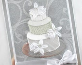 Elegant wedding cards, wedding day cards, congratulations, wedding cake, bride and groom