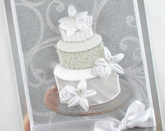 Elegant wedding cards, wedding day cards, congratulations, wedding cake, bride and groom