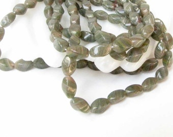 Green Glass Bead Tan Clear Jewelry Necklace Bracelet Jewelry Supply for Handmade Jewelry Supply  #113