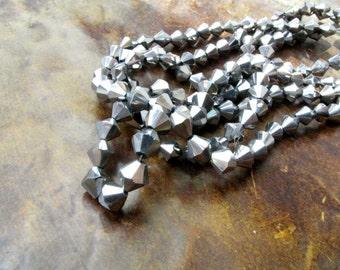 Silver Bicone 42 Beads 1 strand 8 mm Bicone beads Jewelry Supply