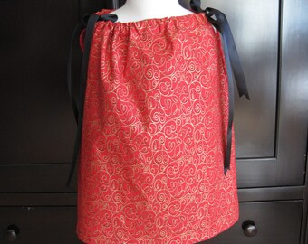 """Girls Pillowcase Dress/Top - """"Red and Gold"""""""