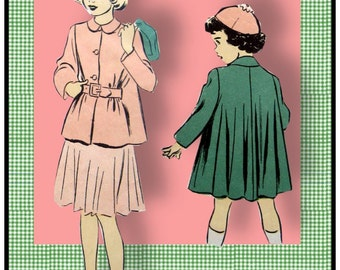 Vintage 1940s-Toddler Swing Coat-Two Styles-Sewing Pattern-Full Drape Back-Belted Front-Lined-Patch Pockets-Peter Pan Collar-Size 4-Rare