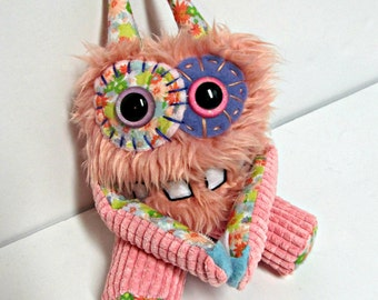 Happy Monster Plush - Handmade Plush Monster - OOAK Hand Embroidered Monster Doll - Weird Cute Monster Toy - Peach Pink Faux Fur Monster Toy