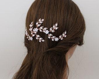 Rose Gold Hair vine, Rose gold headpiece, Wedding headpiece, Bridal hair vine, Leaf hair comb, Swarovski crystal comb, Rhinestone hair piece
