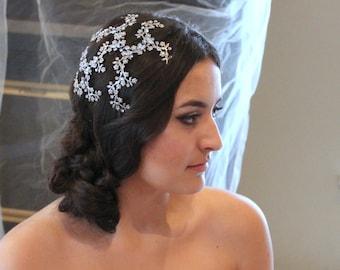 Antique silver headpiece, Wedding head piece, Face framer, Bridal hair vine, Swarovski crystal hair piece, Wedding hair accessory, Vintage