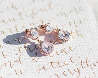 Rose Gold earrings, Crystal Bridal earrings, Rose Gold Wedding jewelry, Bridesmaid earrings, Wedding earring, Crystal drop earrings