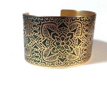 Etched Brass Cuff Bracelet Art Deco Flowers