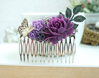 Butterfly Comb, Butterfly Flower Comb, Flower Comb, Large Flower Comb, Woodland Bridesmaids Gift, Violet, Lavender Purple Large Silver Comb