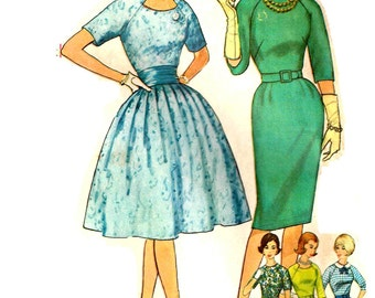 Fitted Sheath Wiggle Dress Bouffant Raglan Sleeves Vintage 1960s Simplicity 4232 Sewing Pattern Size 14 Bust 34