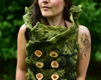 Felt Melted Seamless Woodland Pixie Nymph Collar Vest Top Bolero OOAK
